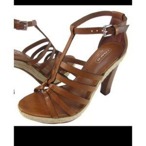 COACH | Delanie Espadrille Cognac Platform Heels